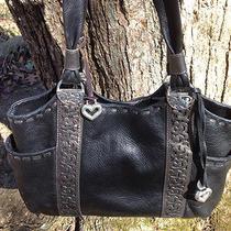 Brighton Callie Pocket Organizer Tote  Shoulder Bag Black W/ Pewter Cut Out Lk Photo