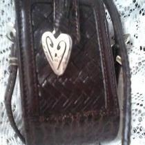 Brighton Cell Phone Case Woven Leathers & Silver Heart Cute  Guc Photo