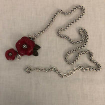 Brighton Chain Belt Silver Plated With Leather Roses Small 28 to 36 Photo