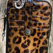 Brighton Cheetah Twister Patent Leather Key Chain Organizer Wallet Purse Slim Photo