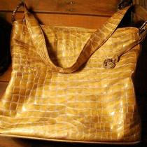 Brighton Cher Crocodile Glossy Patent Leather Shoulder Bag Purse Gold & Olive Lg Photo