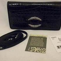 Brighton Cher Large Black Patent Croc Leather Wallet Clutch Crossbody T33253 Nwt Photo