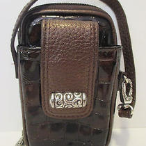 Brighton Cher Moc Croc Brown Leather Cell Phone Iphone 4 Holder Wristlet Wallet Photo