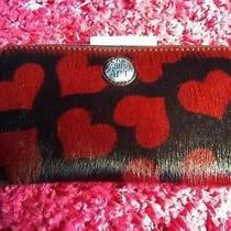 Brighton Chic Fashion Faux Fur Red Heart Black Leather Wristlet Wallet Nwt Photo