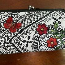 Brighton Clutch Embroidered Butterlies Nwt Blk / White Canvas/kiss Lock Photo