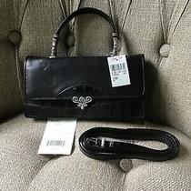 Brighton Clutch Purse Black Leather Nwt W/ Shoulder Strap Photo