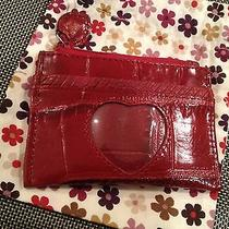 Brighton Coin Card Case Zippered Croc Red Leather W/ Gift Bag Photo