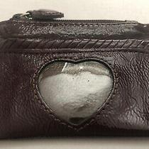 Brighton Coin Change Purse Id Pocket Card Holder Mini Brown Heart Leather Zip Photo