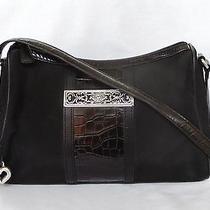 Brighton Collection Black Microfiber Moc Croc Leather Shoulder Bag Photo