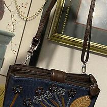 Brighton Collection Denim Blue Jeans 3d Appliqued Flowers Purse Wallet Organizer Photo