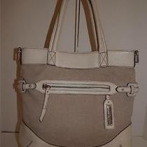 Brighton Collection Handbag  D940461  Cream Twill and Leather Tote Purse Photo