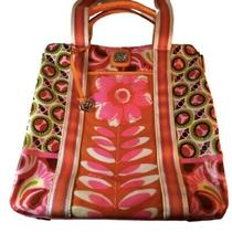 Brighton Colorful Canvas Coated Leather Expandable X-Large Tote Beach Bag Photo