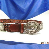 Brighton Concho Belt Braided Brown Leather 92306 L Fits From 32-36 In