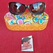 Brighton Contempo A11373 Fancy Black Frame Silvertone Temple Sunglasses W/tin-Nr Photo