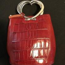Brighton Corazon Double Heart Handle Handbag Red Leather Clutch Mini Bag Photo