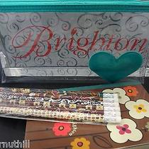 Brighton Cosmetic/storage Pouch W/thick Note Pad & Brighton Pattern Pencilsnwt Photo
