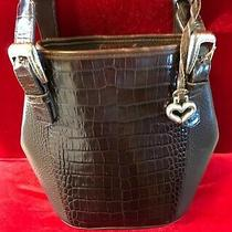 Brighton Croc Embossed Brown Leather Shoulder Bag Photo