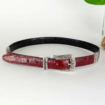 Brighton Croc Leather Dress Belt Reversible Black Red Silver Hardware Western Ml Photo
