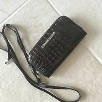 Brighton Croc Patent Leather Zip Organizer Clutch Crossbody Shoulder Bag Brown Photo