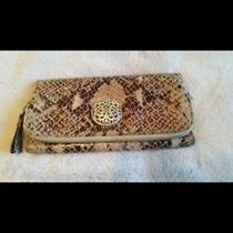Brighton Croc Print Python Brown Leather Wallet Trifold Organizer Clutch   Photo