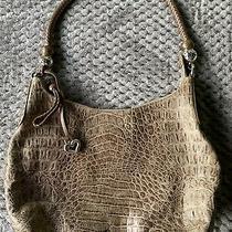 Brighton Croc Taupe Leather Purse Classic Shoulder Bag Photo