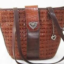 Brighton Croco Brown Woven Leather Heart Jewelry - Tote Purse Handbag  Photo