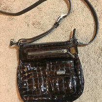 Brighton Cross-Body Shoulder Bag Purse Handbag Brown Patent Leather Photo
