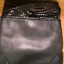 Brighton Crossbody Messenger Bag Purse Black Croc Patent Leather Pebble E332934 Photo