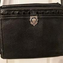 Brighton Crossbody Organizer Purse Wallet Black Pebble Leather Magnetic & Zipper Photo