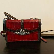 Brighton Crossbody Organizer Wallet Clutch Purse Red/brown Leather With Strap Photo