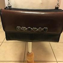 Brighton Crossbody Organizer Wallet Purse Bag Black Brown Leather   Photo