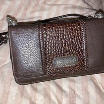 Brighton Crossbody Organizer Wallet Purse Bag Brown Croc Leather W/strap Photo