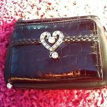 Brighton Crystal Heart Black Leather Strap Wallet Preowned Photo
