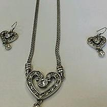 Brighton Crystal Heart Necklace With Swarovski Crystals and Earrings Photo