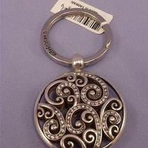 Brighton Crystal & Silver Anahita Scroll Keyfob Key Chain Ring Rare New Photo