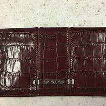 Brighton Dark/deep Red Croc Leather Bifold Wallet/checkbook W/heart Stamp Photo