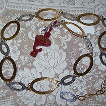Brighton Deco Gold Silver Alternating Links Scrolled Belt L Large (New) Photo