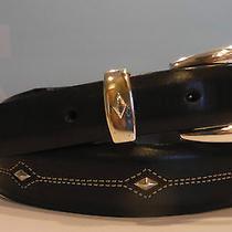 Brighton  Denver Diamond Leather Belt  Size 40 Black  Silver Plated Photo
