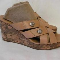 Brighton Derby Tan Leather Wedge Slide Sandal 185 Women Size 7.5 Photo