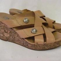 Brighton Derby Wedge Slide Sandal 185 Women Size 7 M Tan Leather Photo