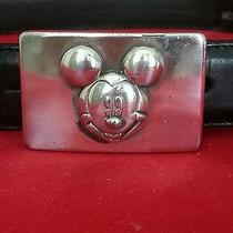 Brighton Disney Mickey & Co Solid Black Leather Belt Sz 30