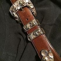 Brighton Disney Mickey Mouse Belt Med. (30-32) Brown Leather W Brighton Buckle Photo