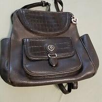 Brighton Donatella Black Pebble Leather Croc Embossed Backpack Organizer Purse Photo