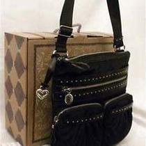 Brighton Downtown Black/chocolat Microfiber Leather Studded Messenger H51929 Nwt Photo