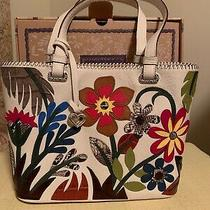 Brighton Eden Multi Color Flowers White Leather Tote Photo