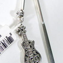 Brighton Electric Guitar Charm Bookmark Silver & Pave Crystal G91290 Nwt    Photo