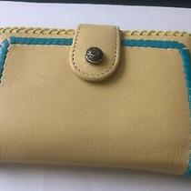 Brighton Embroidered Leather Credit Card Case Yellow/turquoise Photo