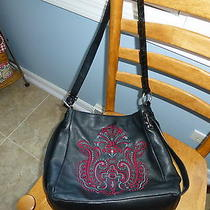Brighton Embroidered Leather Purse With Patent Leather Trim Photo