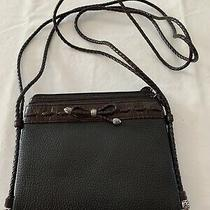 Brighton Emma Magnetic Organizer Crossbody Black Brown Leather Wallet Bag Purse  Photo