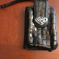 Brighton Eve Delight Phone Case Wallet Wristlet Organizer Blk Leather Brown Croc Photo
